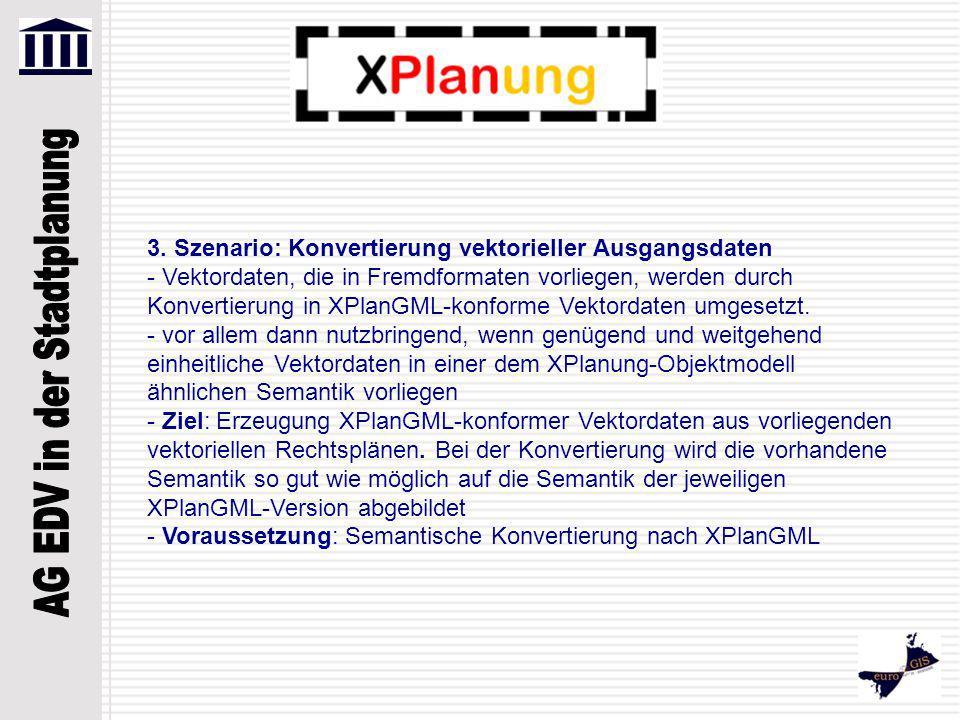 3. Szenario: Konvertierung vektorieller Ausgangsdaten - Vektordaten, die in Fremdformaten vorliegen, werden durch Konvertierung in XPlanGML-konforme V