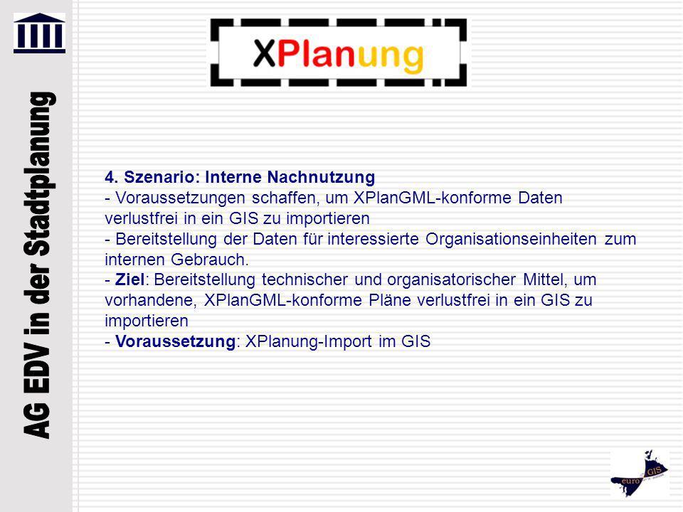 4. Szenario: Interne Nachnutzung - Voraussetzungen schaffen, um XPlanGML-konforme Daten verlustfrei in ein GIS zu importieren - Bereitstellung der Dat