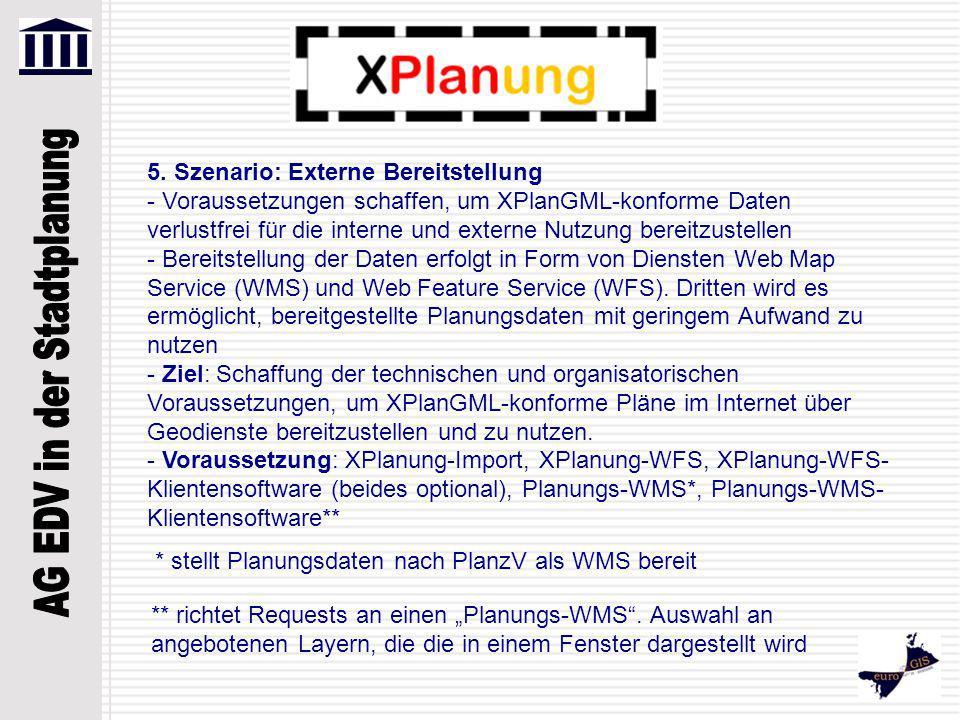 5. Szenario: Externe Bereitstellung - Voraussetzungen schaffen, um XPlanGML-konforme Daten verlustfrei für die interne und externe Nutzung bereitzuste