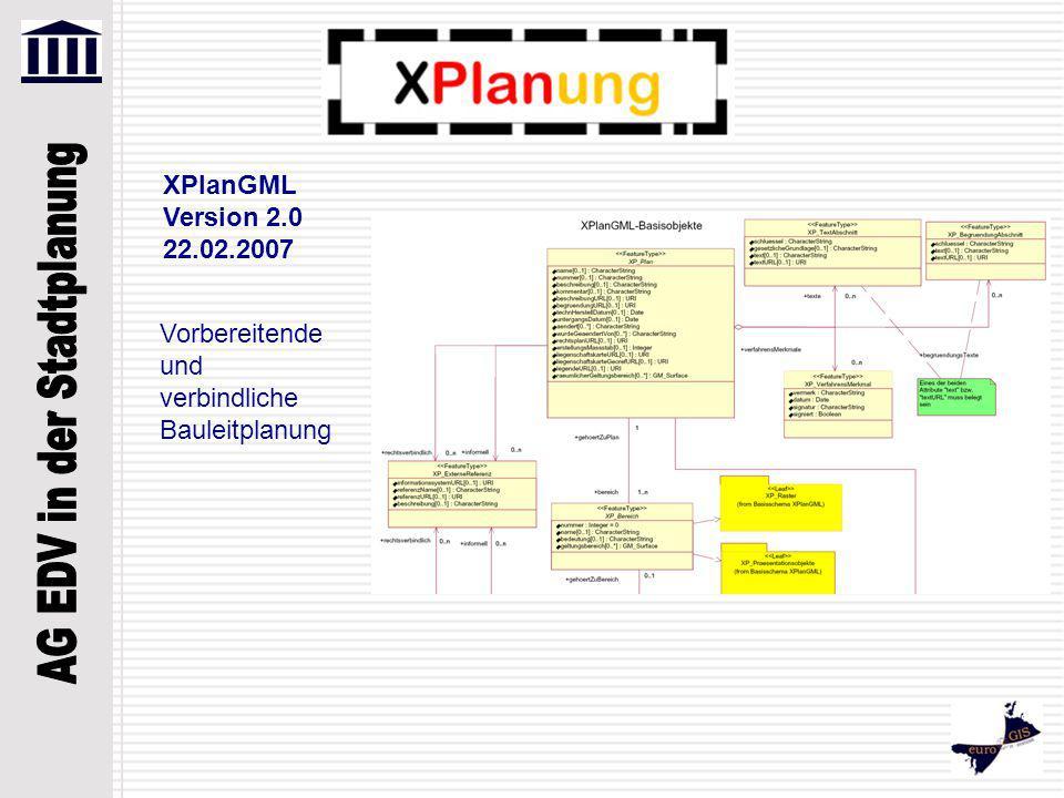Vorbereitende und verbindliche Bauleitplanung, Regionalplanung und Landschaftsplanung XPlanGML Version 3.0 02.09.2008