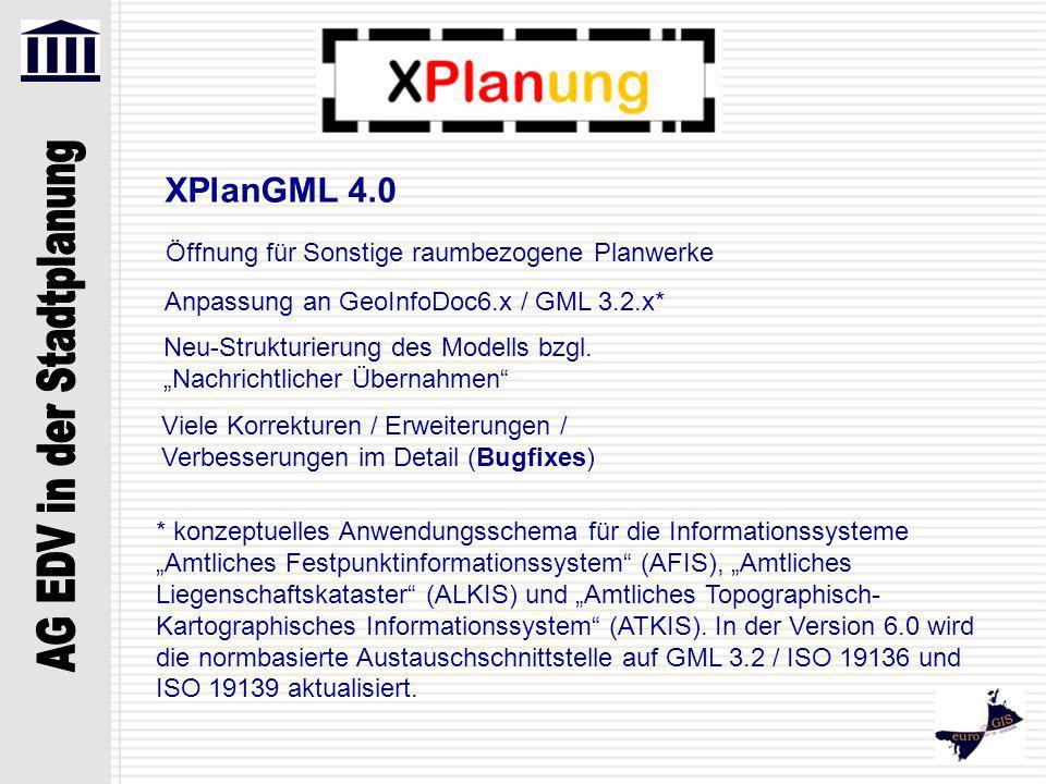 """Öffnung für Sonstige raumbezogene Planwerke Anpassung an GeoInfoDoc6.x / GML 3.2.x* XPlanGML 4.0 Neu-Strukturierung des Modells bzgl. """"Nachrichtlicher"""
