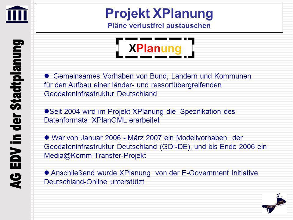 Projekt XPlanung Pläne verlustfrei austauschen Gemeinsames Vorhaben von Bund, Ländern und Kommunen für den Aufbau einer länder- und ressortübergreifen