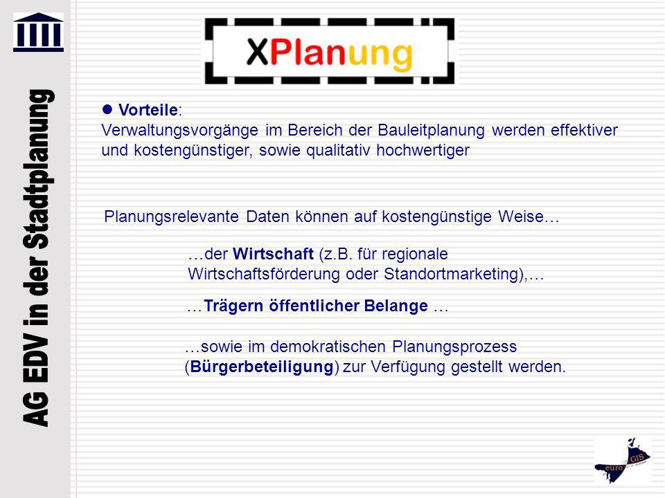 Die Entwicklung eines standardisierten, semantischen Datenmodells (Bebauungsplan, Flächennutzungsplan, regionaler Flächennutzungsplan, Regionalplan, Landschaftsplan, Grünordnungsplan...) Die Entwicklung eines standardisierten, objektorientierten Datenaustausch-Formats XPlanGML Die Gewährleistung des uneingeschränkten Datenaustauschs zwischen unterschiedlichen IT-Systemen (GIS; CAD; Viewer) sowie zwischen verschiedenen Planungsebenen und öffentlichen / privaten Akteuren Standardisierung formaler Visualisierungs-Vorschriften für Bauleitpläne und Landschaftspläne