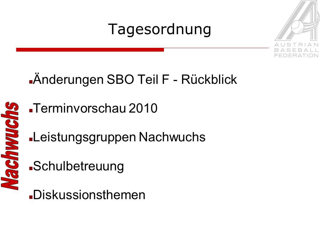Tagesordnung Änderungen SBO Teil F - Rückblick Terminvorschau 2010 Leistungsgruppen Nachwuchs Schulbetreuung Diskussionsthemen