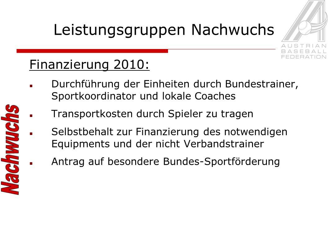 Finanzierung 2010: Durchführung der Einheiten durch Bundestrainer, Sportkoordinator und lokale Coaches Transportkosten durch Spieler zu tragen Selbstbehalt zur Finanzierung des notwendigen Equipments und der nicht Verbandstrainer Antrag auf besondere Bundes-Sportförderung