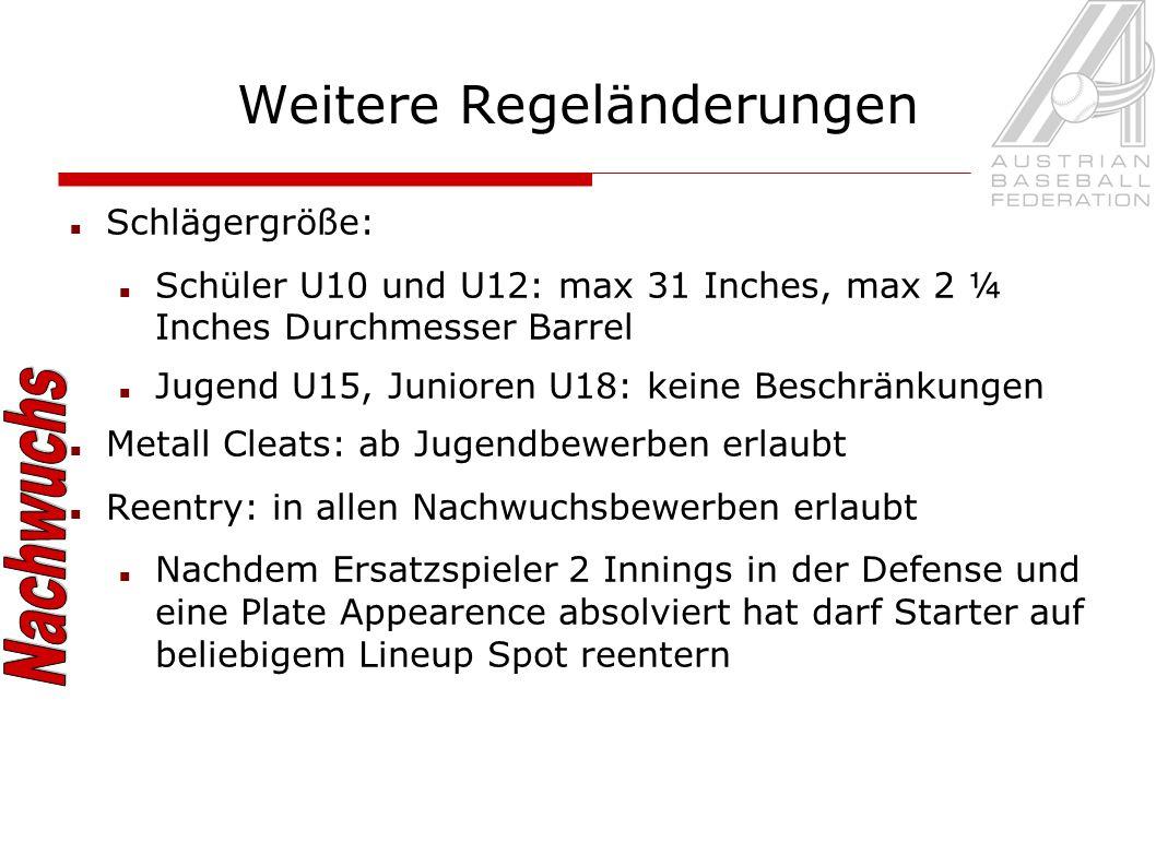 Weitere Regeländerungen Schlägergröße: Schüler U10 und U12: max 31 Inches, max 2 ¼ Inches Durchmesser Barrel Jugend U15, Junioren U18: keine Beschränk