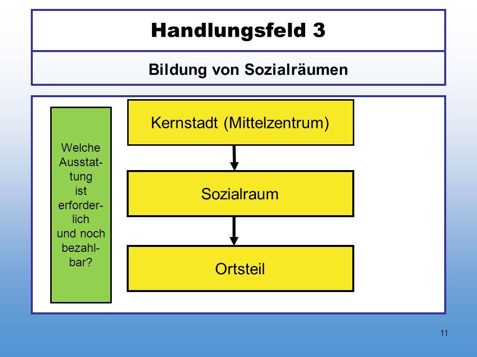 11 Handlungsfeld 3 Bildung von Sozialräumen Kernstadt (Mittelzentrum) Sozialraum Ortsteil Welche Ausstat- tung ist erforder- lich und noch bezahl- bar