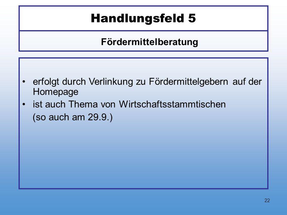 22 Handlungsfeld 5 erfolgt durch Verlinkung zu Fördermittelgebern auf der Homepage ist auch Thema von Wirtschaftsstammtischen (so auch am 29.9.) Förde