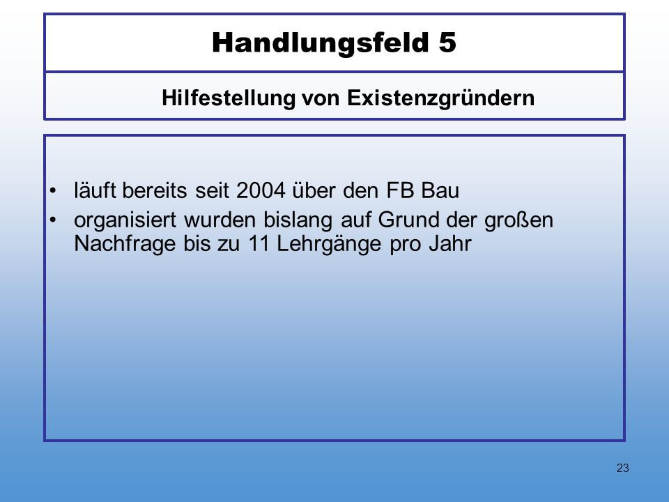 23 Handlungsfeld 5 läuft bereits seit 2004 über den FB Bau organisiert wurden bislang auf Grund der großen Nachfrage bis zu 11 Lehrgänge pro Jahr Hilf