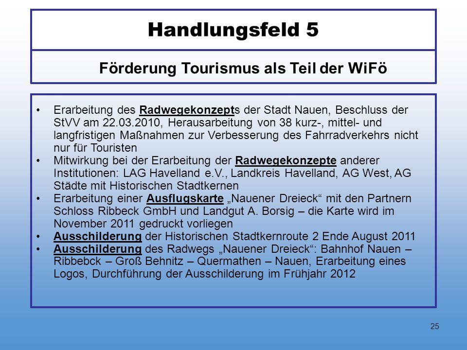 25 Handlungsfeld 5 Erarbeitung des Radwegekonzepts der Stadt Nauen, Beschluss der StVV am 22.03.2010, Herausarbeitung von 38 kurz-, mittel- und langfr