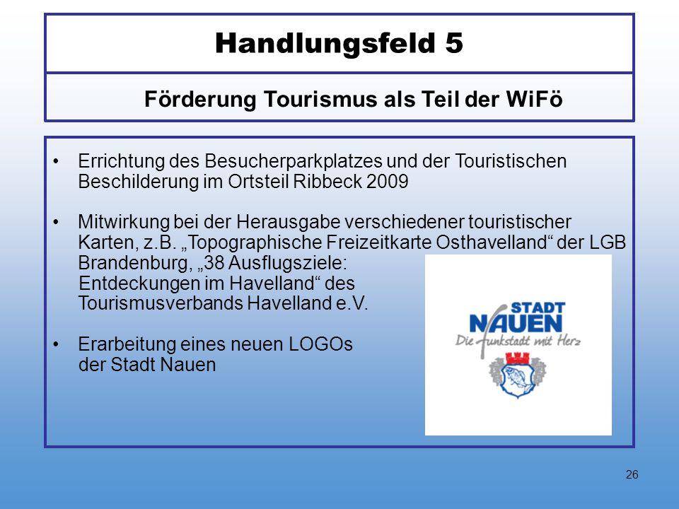 26 Handlungsfeld 5 Errichtung des Besucherparkplatzes und der Touristischen Beschilderung im Ortsteil Ribbeck 2009 Mitwirkung bei der Herausgabe versc