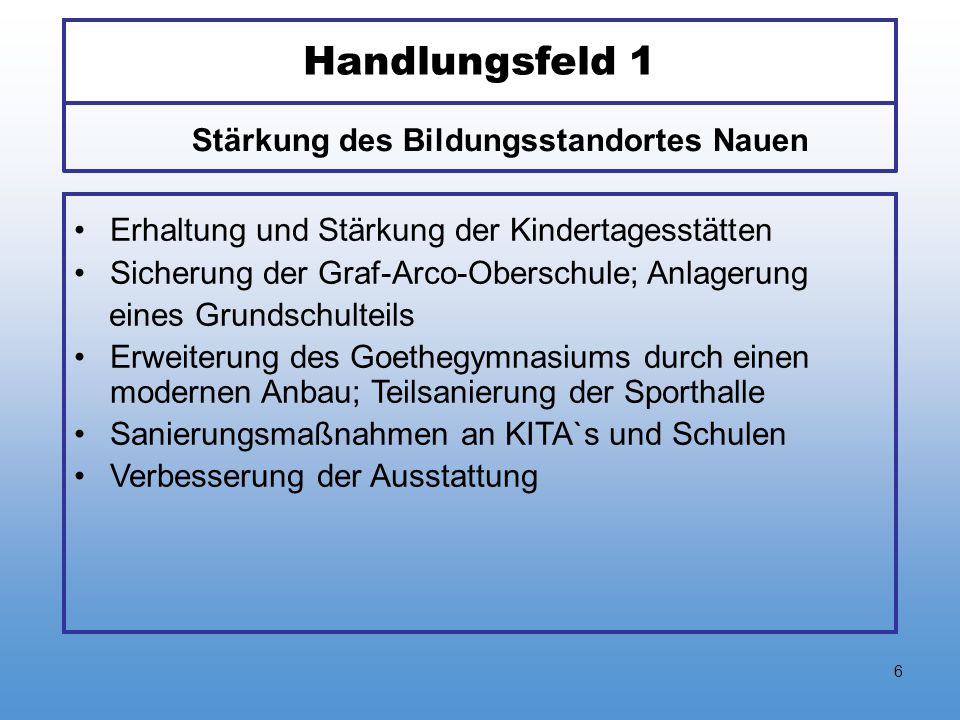 6 Handlungsfeld 1 Erhaltung und Stärkung der Kindertagesstätten Sicherung der Graf-Arco-Oberschule; Anlagerung eines Grundschulteils Erweiterung des G