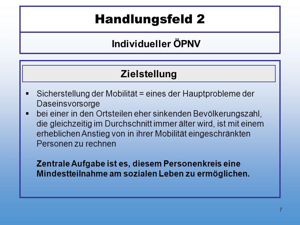 7 Handlungsfeld 2 Individueller ÖPNV Zielstellung  Sicherstellung der Mobilität = eines der Hauptprobleme der Daseinsvorsorge  bei einer in den Orts