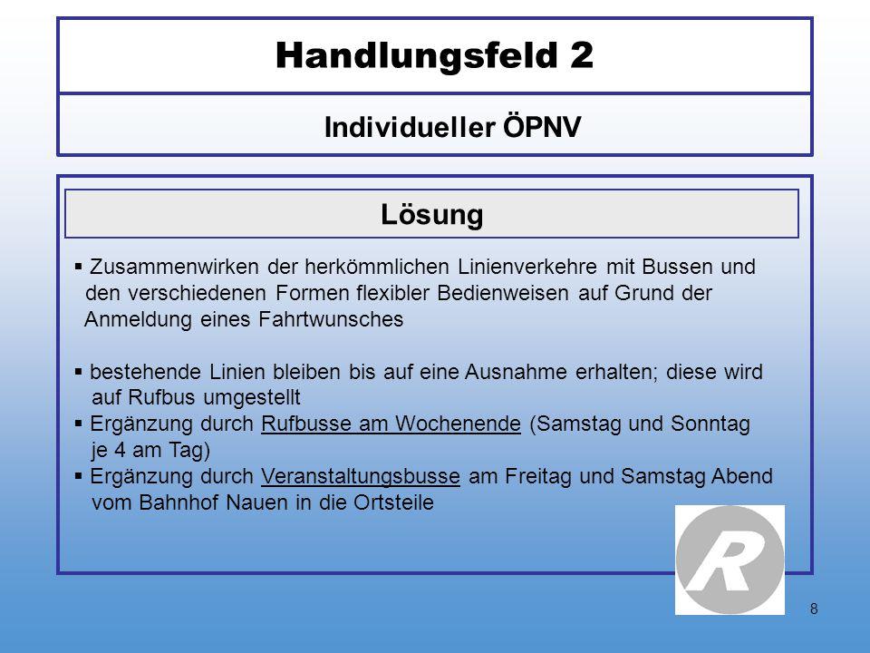 8 Handlungsfeld 2 Individueller ÖPNV Lösung  Zusammenwirken der herkömmlichen Linienverkehre mit Bussen und den verschiedenen Formen flexibler Bedien