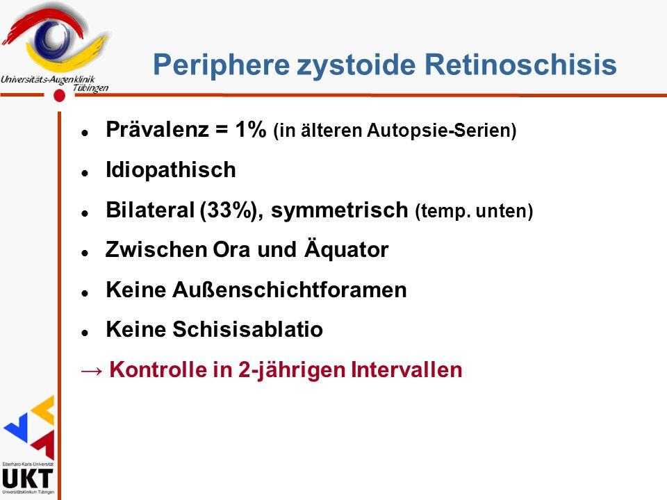 Periphere zystoide Retinoschisis l Prävalenz = 1% (in älteren Autopsie-Serien) l Idiopathisch l Bilateral (33%), symmetrisch (temp. unten) l Zwischen