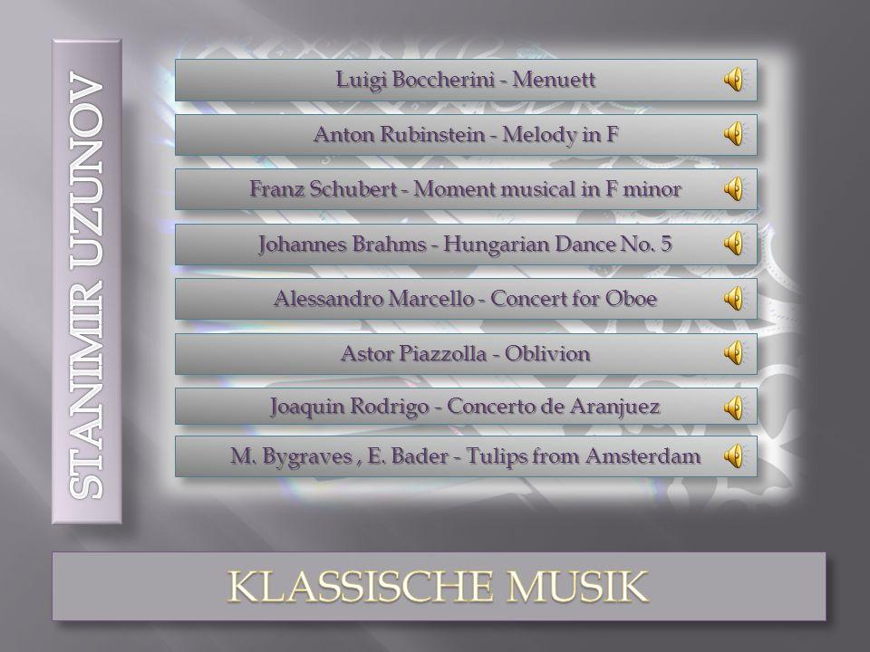 Luigi Boccherini - Menuett Franz Schubert - Moment musical in F minor Alessandro Marcello - Concert for Oboe Astor Piazzolla - Oblivion Joaquin Rodrigo - Concerto de Aranjuez M.