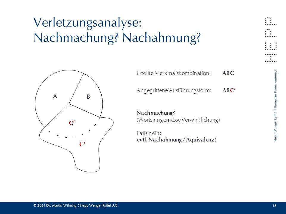 © 2014 Dr. Martin Wilming ¦ Hepp Wenger Ryffel AG 15 Verletzungsanalyse: Nachmachung? Nachahmung? A B C C' Erteilte Merkmalskombination: ABC Angegriff