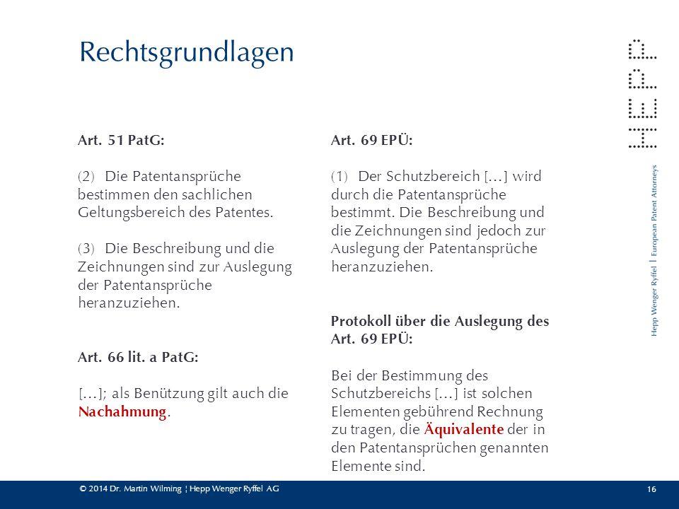 © 2014 Dr. Martin Wilming ¦ Hepp Wenger Ryffel AG 16 Rechtsgrundlagen Art. 51 PatG: (2)Die Patentansprüche bestimmen den sachlichen Geltungsbereich de