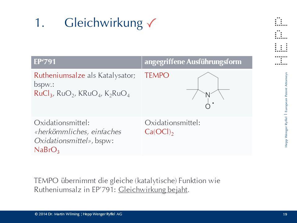 © 2014 Dr. Martin Wilming ¦ Hepp Wenger Ryffel AG 19 1.Gleichwirkung EP'791angegriffene Ausführungsform Rutheniumsalze als Katalysator; bspw.: RuCl 3,