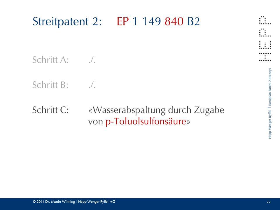 © 2014 Dr. Martin Wilming ¦ Hepp Wenger Ryffel AG 22 Streitpatent 2:EP 1 149 840 B2 Schritt A:./. Schritt B:./. Schritt C:«Wasserabspaltung durch Zuga
