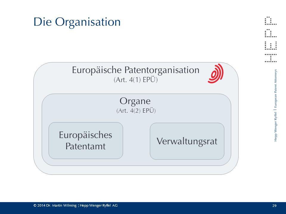 © 2014 Dr. Martin Wilming ¦ Hepp Wenger Ryffel AG Europäische Patentorganisation (Art. 4(1) EPÜ) Organe (Art. 4(2) EPÜ) 29 Die Organisation Europäisch