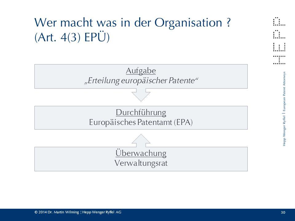 """© 2014 Dr. Martin Wilming ¦ Hepp Wenger Ryffel AG 30 Wer macht was in der Organisation ? (Art. 4(3) EPÜ) Aufgabe """"Erteilung europäischer Patente"""" Durc"""