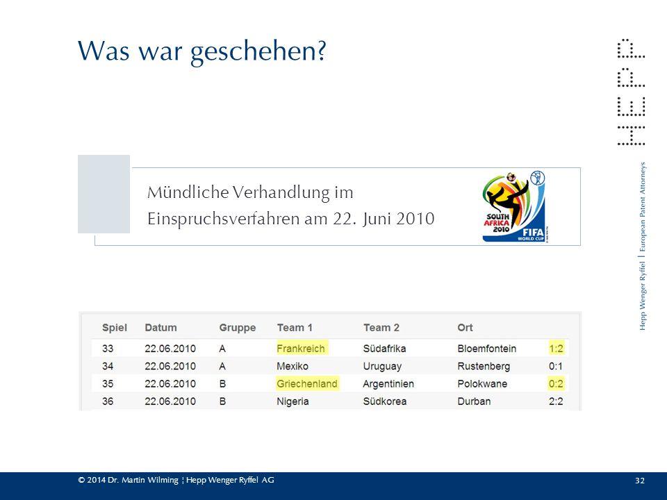 © 2014 Dr. Martin Wilming ¦ Hepp Wenger Ryffel AG Mündliche Verhandlung im Einspruchsverfahren am 22. Juni 2010 32 Was war geschehen?