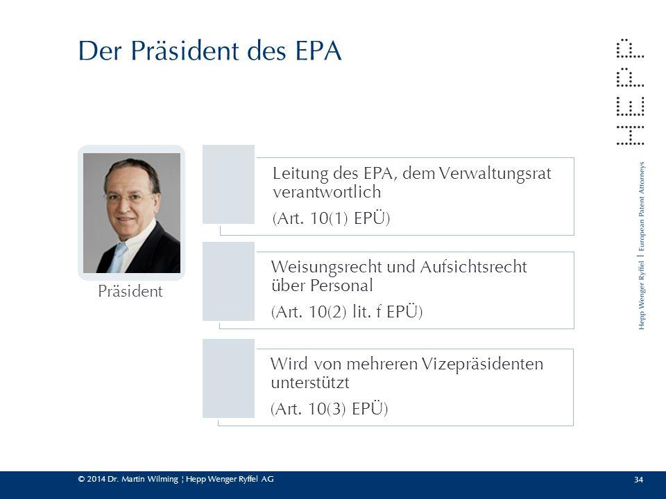 © 2014 Dr. Martin Wilming ¦ Hepp Wenger Ryffel AG 34 Der Präsident des EPA Leitung des EPA, dem Verwaltungsrat verantwortlich (Art. 10(1) EPÜ) Weisung