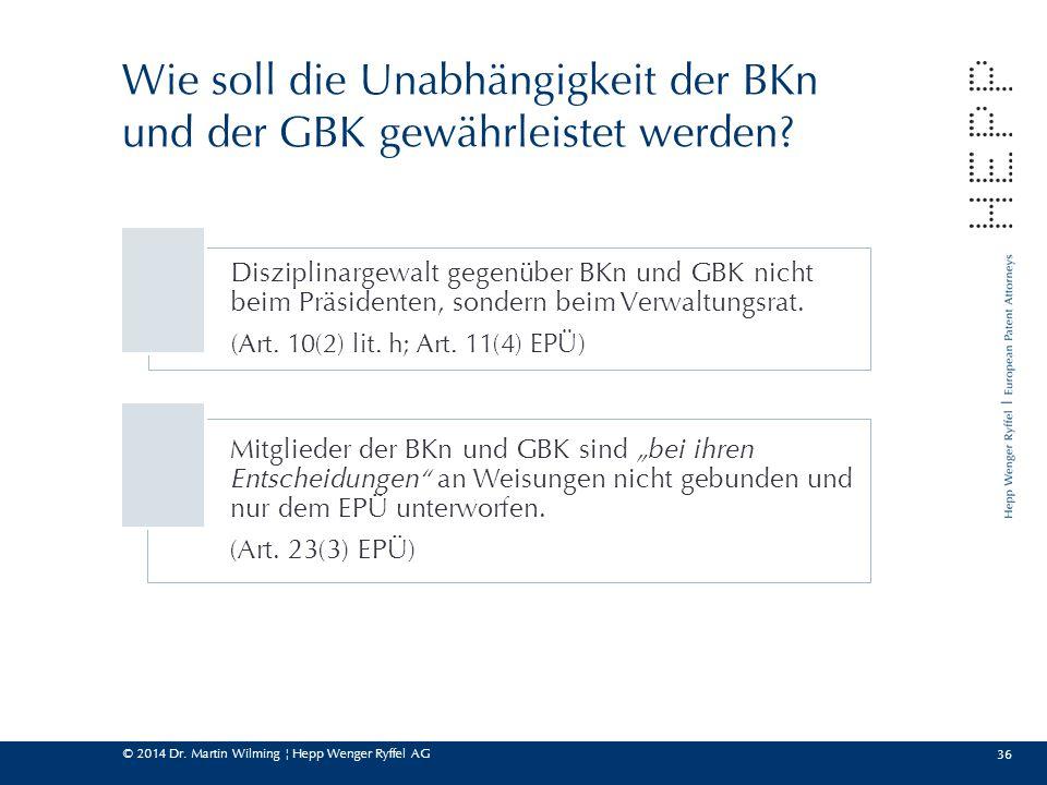 © 2014 Dr. Martin Wilming ¦ Hepp Wenger Ryffel AG 36 Wie soll die Unabhängigkeit der BKn und der GBK gewährleistet werden? Disziplinargewalt gegenüber