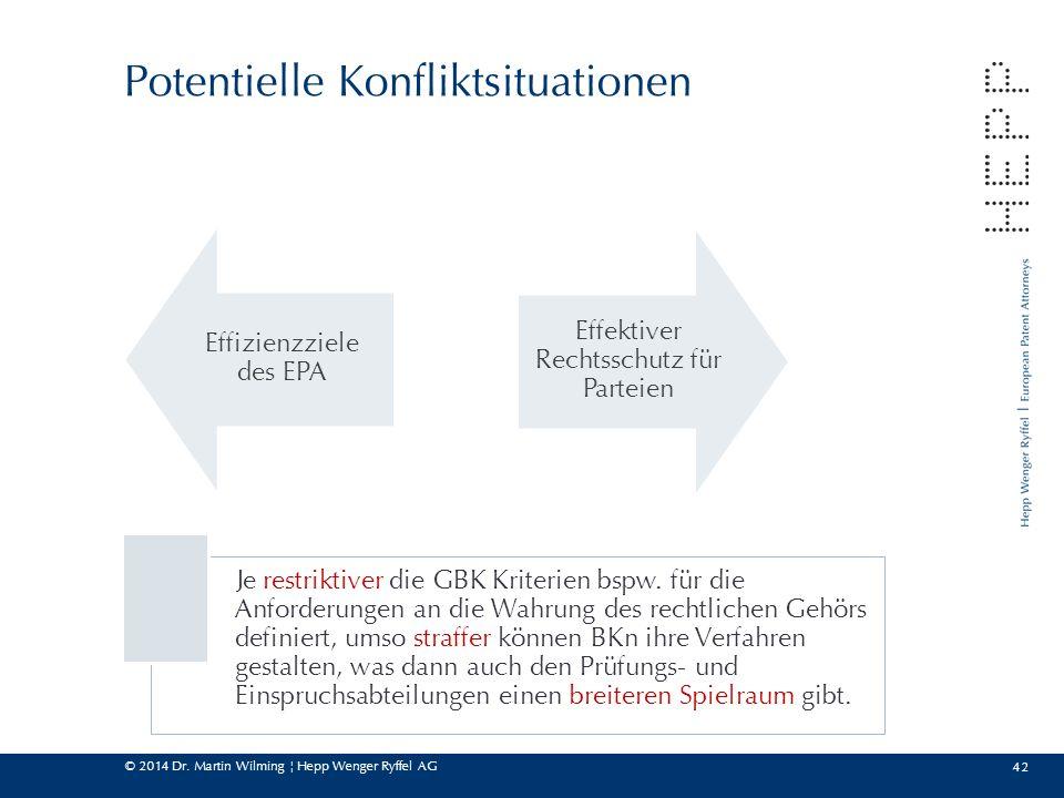 © 2014 Dr. Martin Wilming ¦ Hepp Wenger Ryffel AG 42 Potentielle Konfliktsituationen Effizienzziele des EPA Effektiver Rechtsschutz für Parteien Je re