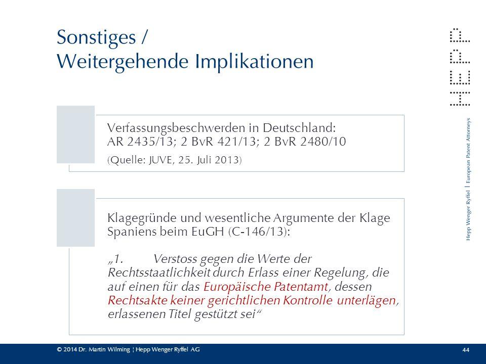 © 2014 Dr. Martin Wilming ¦ Hepp Wenger Ryffel AG 44 Sonstiges / Weitergehende Implikationen Verfassungsbeschwerden in Deutschland: AR 2435/13; 2 BvR