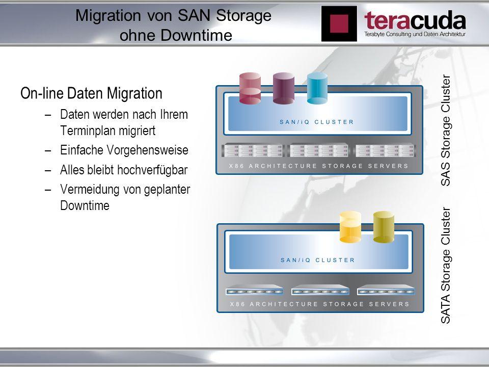 Migration von SAN Storage ohne Downtime On-line Daten Migration –Daten werden nach Ihrem Terminplan migriert –Einfache Vorgehensweise –Alles bleibt hochverfügbar –Vermeidung von geplanter Downtime SAS Storage Cluster SATA Storage Cluster