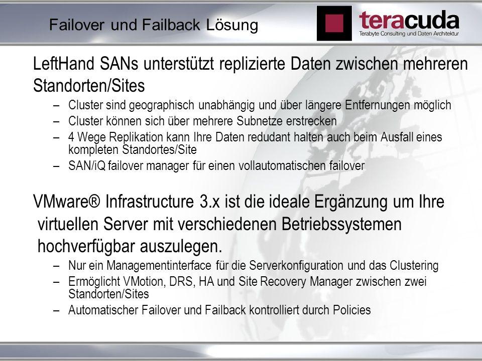Failover und Failback Lösung LeftHand SANs unterstützt replizierte Daten zwischen mehreren Standorten/Sites –Cluster sind geographisch unabhängig und