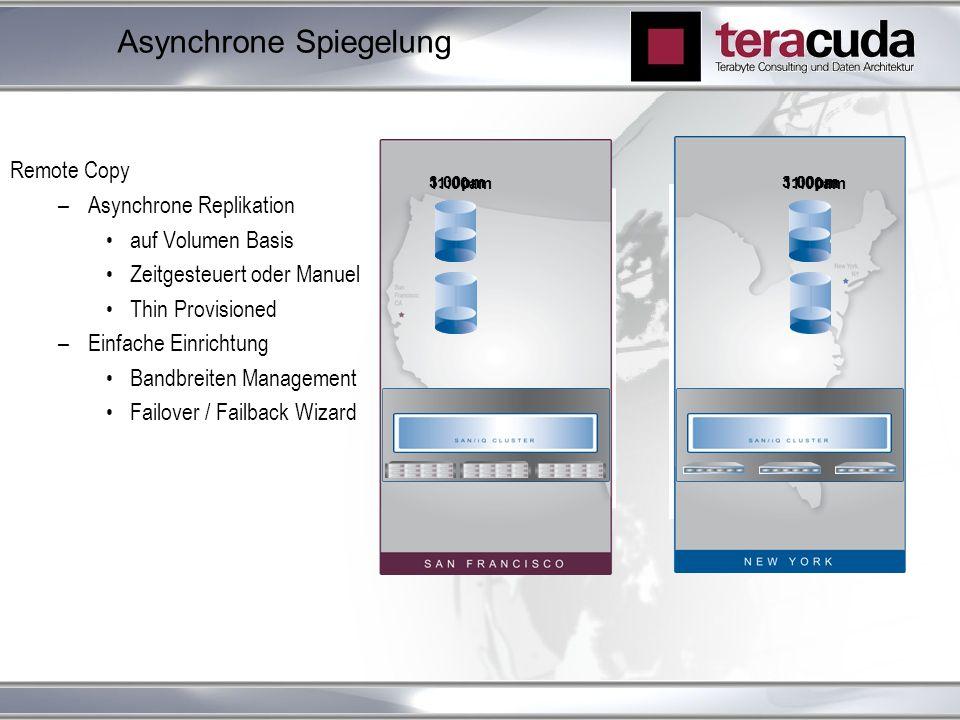 Asynchrone Spiegelung Remote Copy –Asynchrone Replikation auf Volumen Basis Zeitgesteuert oder Manuel Thin Provisioned –Einfache Einrichtung Bandbreit