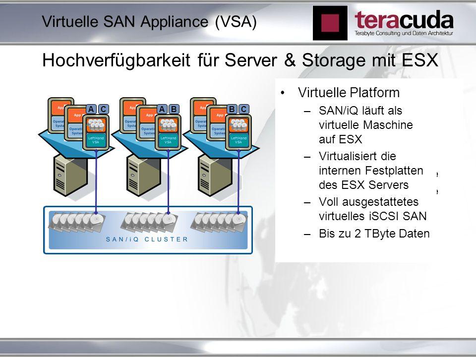 LeftHand VSA A C SAN/iQ Cluster mit ESX: Hoch verfügbarer Storage mit mehreren ESX Systemen Shared Storage für VMs Im Falle eines ESX Ausfalls: SAN/iQ Volumes bleiben online VMware HA hält die VMs online Virtuelle Platform –SAN/iQ läuft als virtuelle Maschine auf ESX –Virtualisiert die internen Festplatten des ESX Servers –Voll ausgestattetes virtuelles iSCSI SAN –Bis zu 2 TByte Daten Hochverfügbarkeit für Server & Storage mit ESX LeftHand VSA LeftHand VSA B C A B Virtuelle SAN Appliance (VSA)