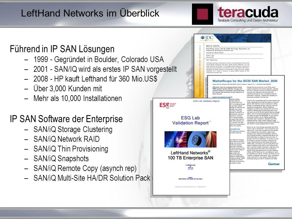 LeftHand Networks im Überblick Führend in IP SAN Lösungen –1999 - Gegründet in Boulder, Colorado USA –2001 - SAN/IQ wird als erstes IP SAN vorgestellt –2008 - HP kauft Lefthand für 360 Mio.US$ –Über 3,000 Kunden mit –Mehr als 10,000 Installationen IP SAN Software der Enterprise –SAN/iQ Storage Clustering –SAN/iQ Network RAID –SAN/iQ Thin Provisioning –SAN/iQ Snapshots –SAN/iQ Remote Copy (asynch rep) –SAN/iQ Multi-Site HA/DR Solution Pack (synch rep