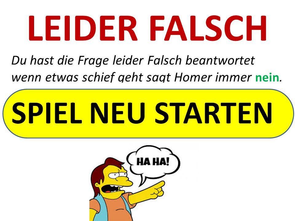 LEIDER FALSCH Du hast die Frage leider Falsch beantwortet wenn etwas schief geht sagt Homer immer nein.