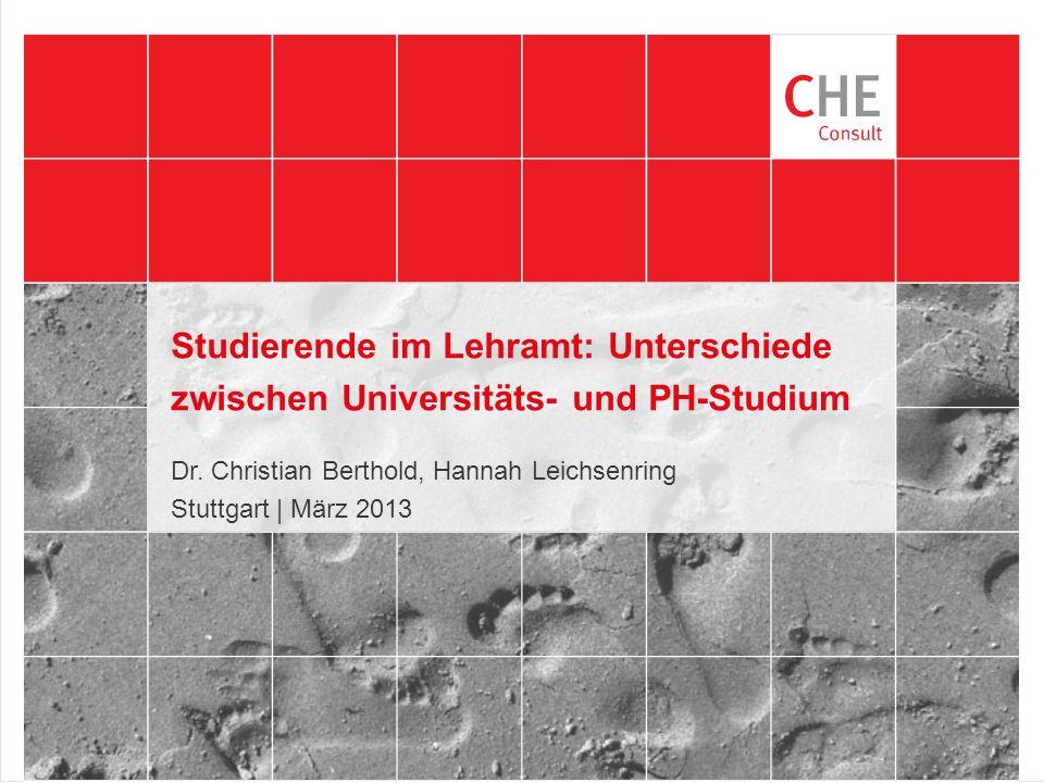 Studierende im Lehramt: Unterschiede zwischen Universitäts- und PH-Studium Dr.