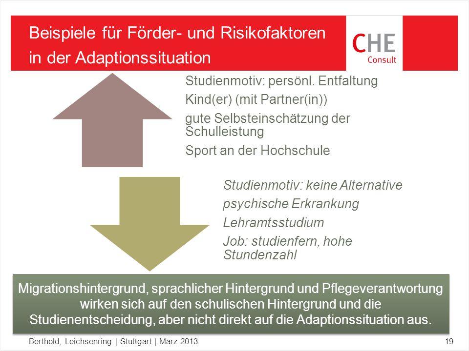 Beispiele für Förder- und Risikofaktoren in der Adaptionssituation Berthold, Leichsenring | Stuttgart | März 201319 Studienmotiv: persönl.