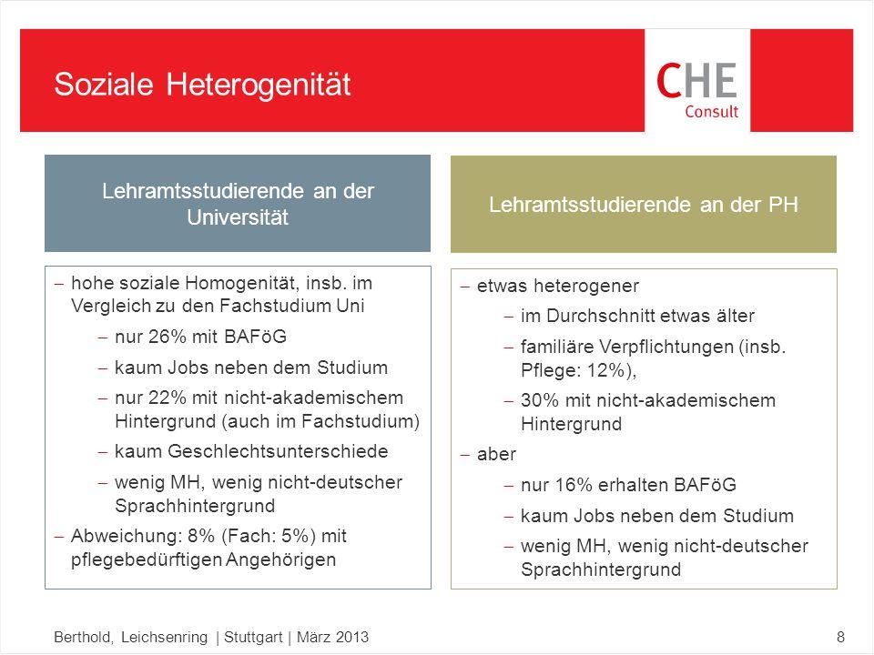Soziale Heterogenität Berthold, Leichsenring | Stuttgart | März 20138  hohe soziale Homogenität, insb.