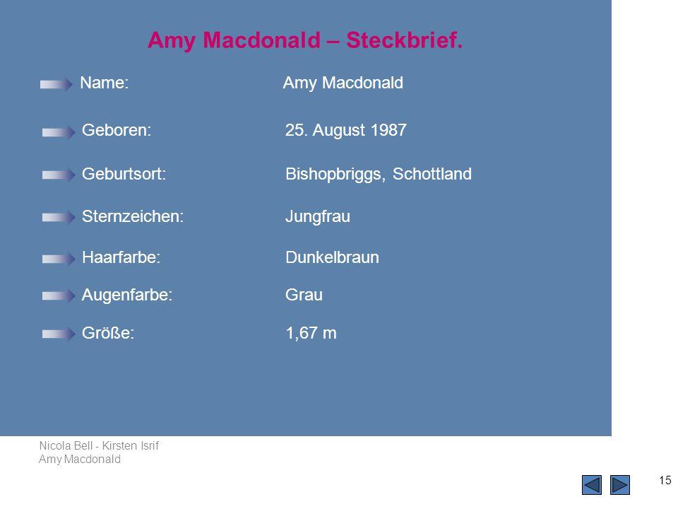 Nicola Bell - Kirsten Isrif Amy Macdonald 15 Name:Amy Macdonald Geboren: 25.
