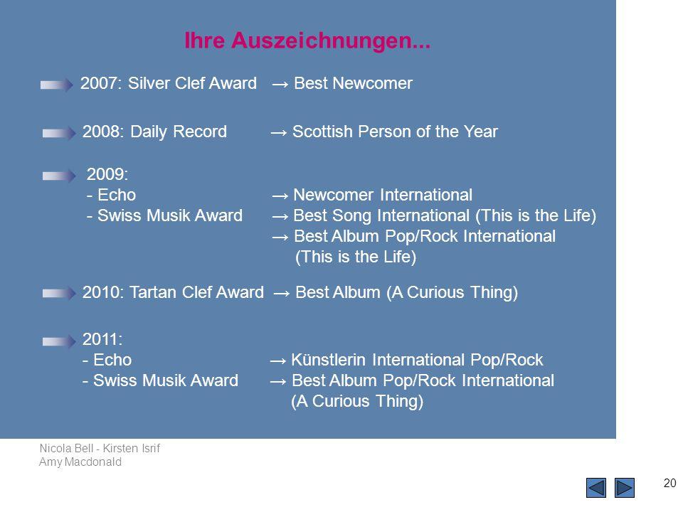 Nicola Bell - Kirsten Isrif Amy Macdonald 20 2007: Silver Clef Award → Best Newcomer 2008: Daily Record → Scottish Person of the Year Ihre Auszeichnungen...