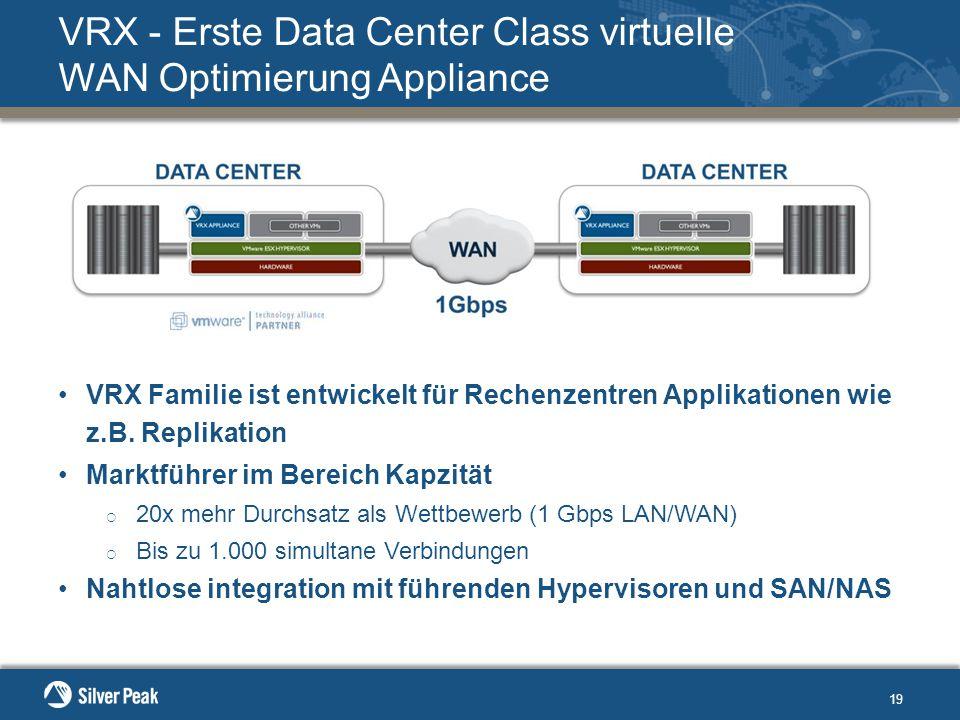 19 VRX - Erste Data Center Class virtuelle WAN Optimierung Appliance VRX Familie ist entwickelt für Rechenzentren Applikationen wie z.B.