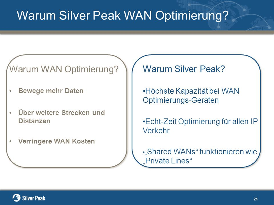 24 Warum Silver Peak WAN Optimierung. Warum WAN Optimierung.