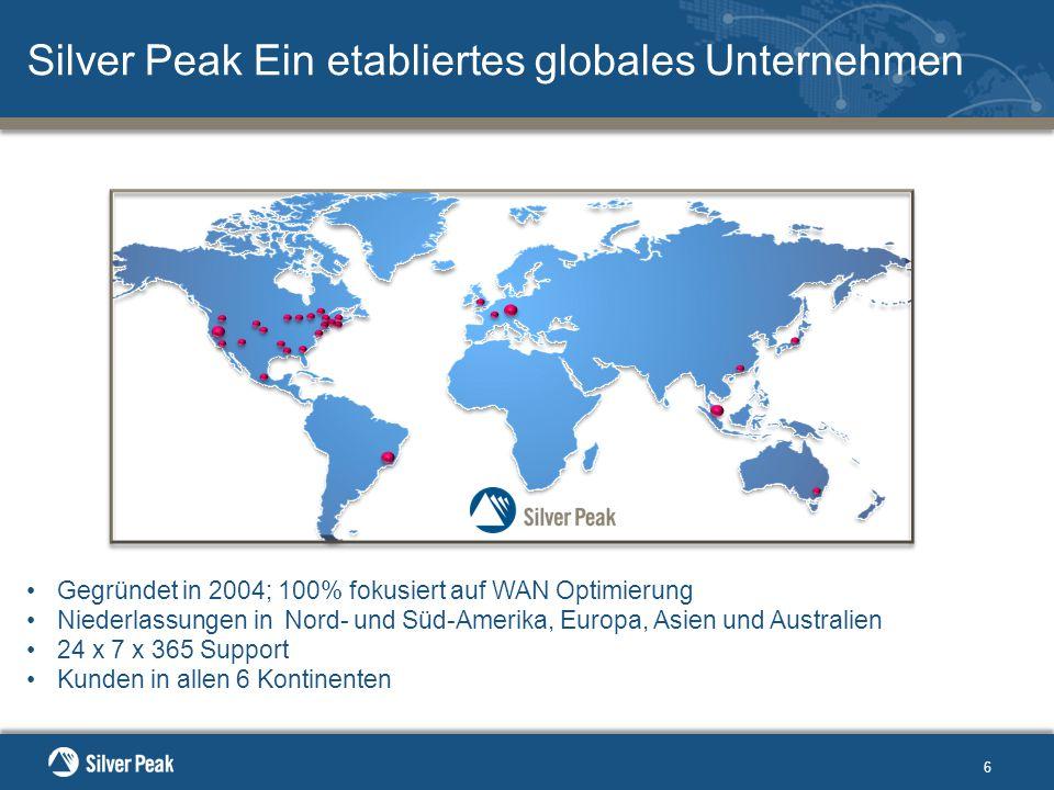 Gegründet in 2004; 100% fokusiert auf WAN Optimierung Niederlassungen in Nord- und Süd-Amerika, Europa, Asien und Australien 24 x 7 x 365 Support Kunden in allen 6 Kontinenten 6 Silver Peak Ein etabliertes globales Unternehmen