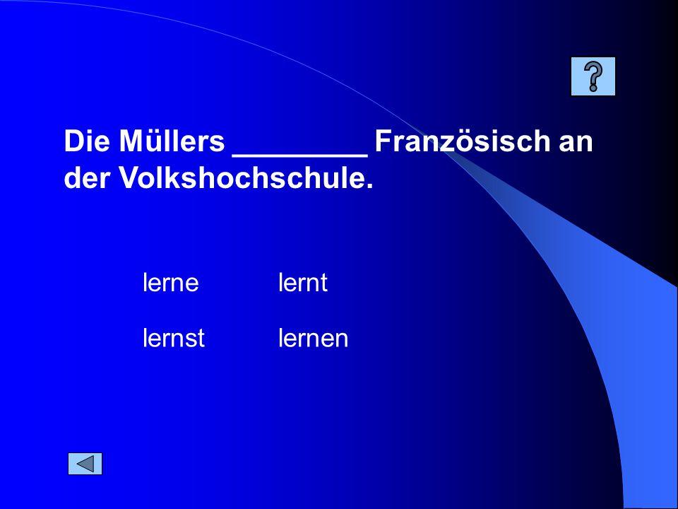 Die Müllers ________ Französisch an der Volkshochschule. lernen lernt lernst lerne