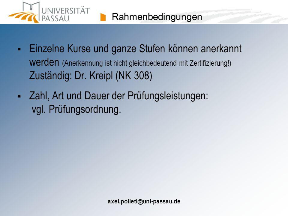axel.polleti@uni-passau.de Rahmenbedingungen  Einzelne Kurse und ganze Stufen können anerkannt werden (Anerkennung ist nicht gleichbedeutend mit Zertifizierung!) Zuständig: Dr.