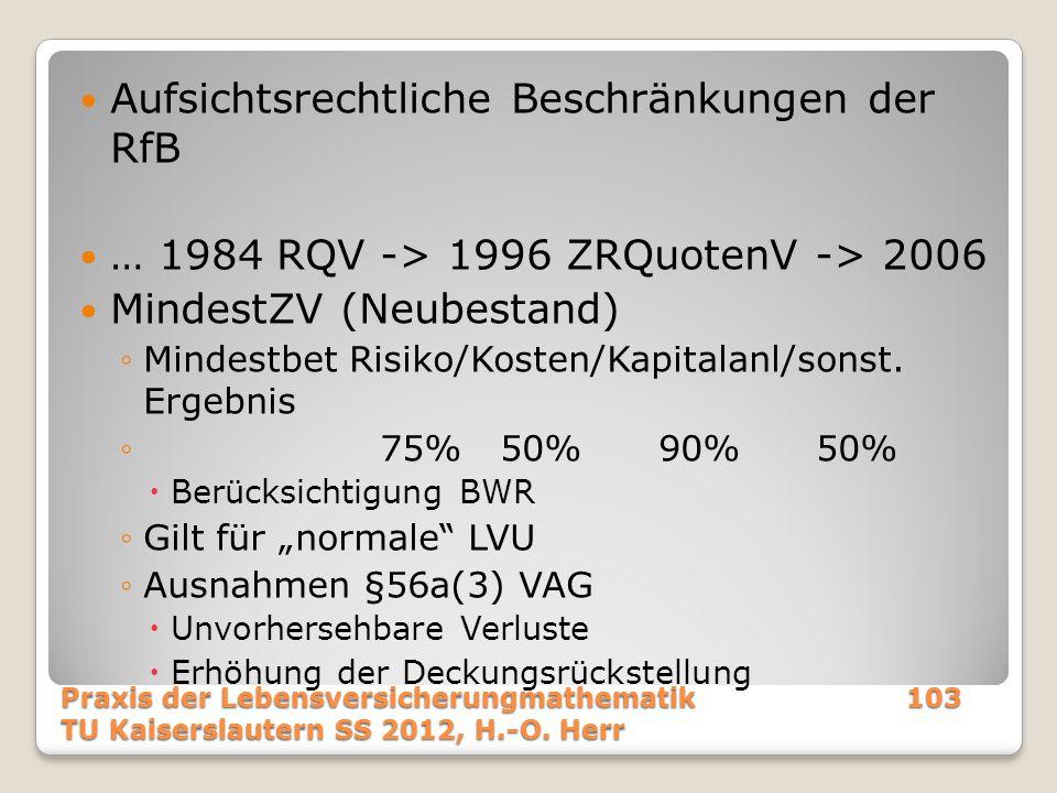 Aufsichtsrechtliche Beschränkungen der RfB … 1984 RQV -> 1996 ZRQuotenV -> 2006 MindestZV (Neubestand) ◦Mindestbet Risiko/Kosten/Kapitalanl/sonst. Erg