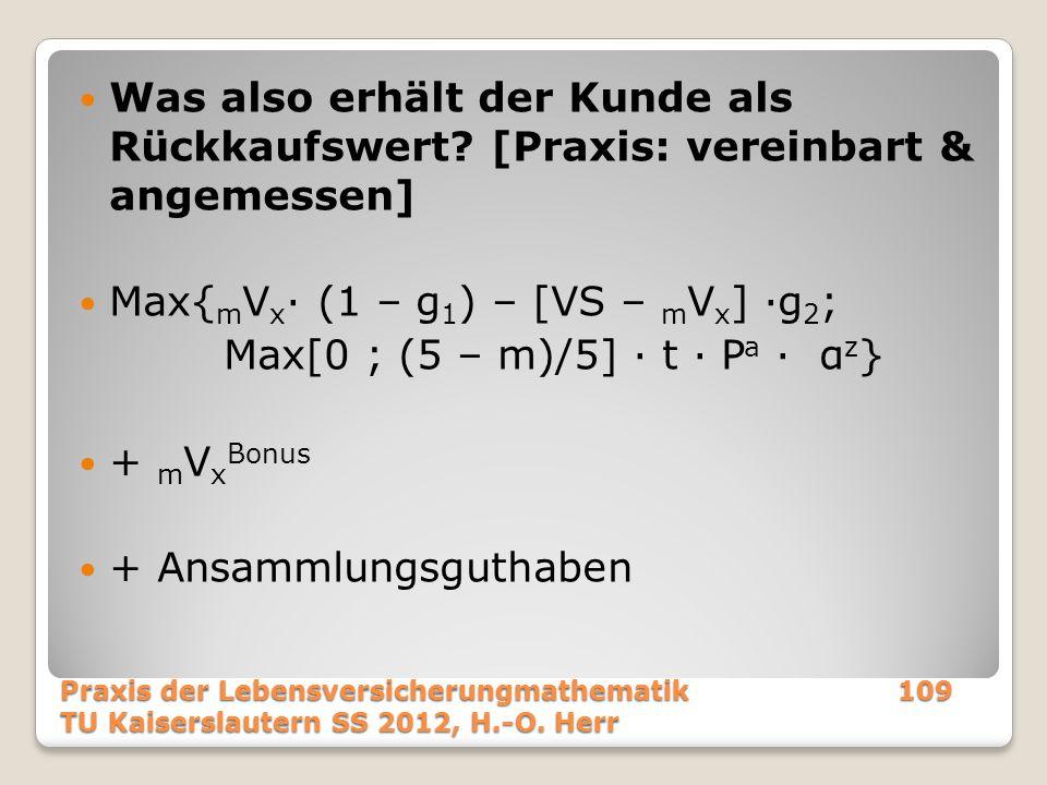 Was also erhält der Kunde als Rückkaufswert? [Praxis: vereinbart & angemessen] Max{ m V x · (1 – g 1 ) – [VS – m V x ] ·g 2 ; Max[0 ; (5 – m)/5] · t ·