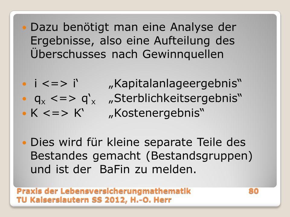 """Dazu benötigt man eine Analyse der Ergebnisse, also eine Aufteilung des Überschusses nach Gewinnquellen i i'""""Kapitalanlageergebnis"""" q x q' x """"Sterblic"""